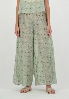 Green Wide-Legged Printed Voile Pants