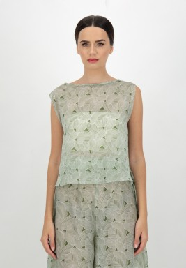 Green Sleeveless Printed Voile Top