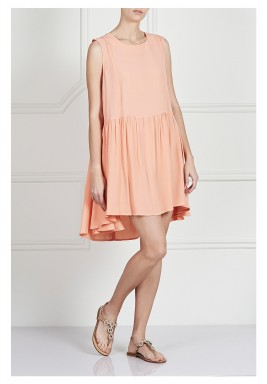Peach Pleated Sleeveless Dress