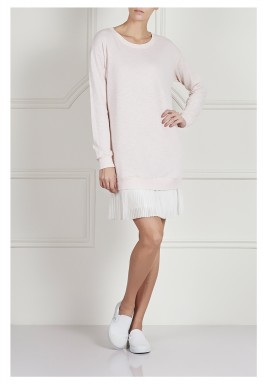 Pleated sweatshirt dress