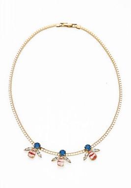 Artichoc triple crystal necklace