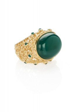 Green onyx filigree ring