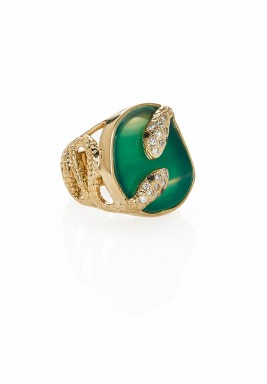 Serpent druzy twisted ring