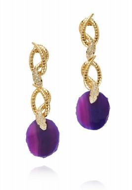 Purple druzy twisted earrings