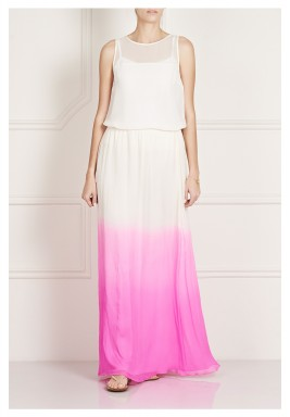 Tamusa Pink & White Dyed Maxi Skirt