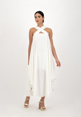 Ivory Crossed Neck Crepe Dress