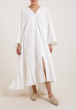 Square Pleats Dress Offwhite