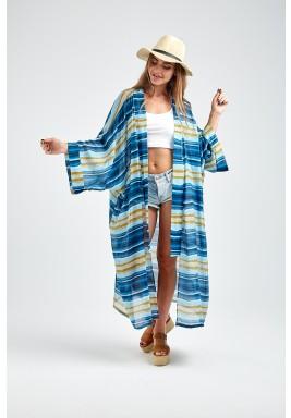 Blue Striped Sheer Midi Kimono