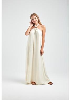 Helen White Halter Neck Maxi Dress