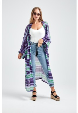 Purple & Green Sheer Striped Kimono