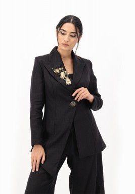Black Linen Blazer with 3D Embellished on Collar