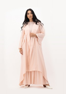 Apricot Blush Two-toned Sailor Collar Cotton Abaya with Pockets