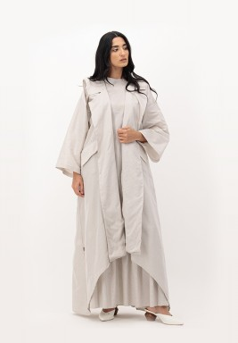 Oatmeal Two-toned Sailor Collar Cotton Abaya with Pockets