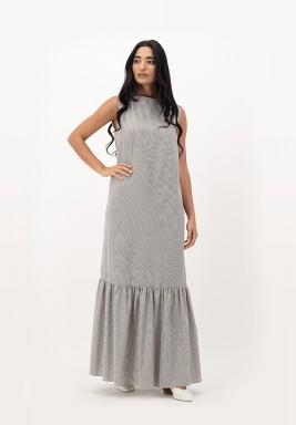 Apricot Blush Sleeveless with Gathered Hemline Cotton Dress