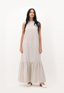 Oatmeal Blush Sleeveless with Gathered Hemline Cotton Dress