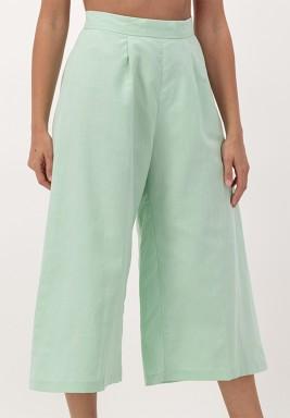 Green Cropped linen Wide-legged Pants