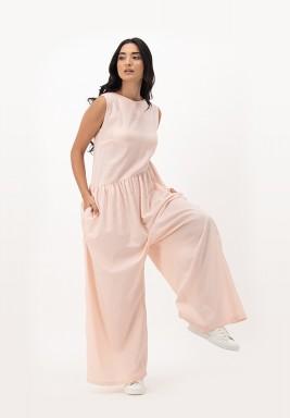 Apricot Blush Sleeveless Cotton Shipped with Asymmetric Gathers