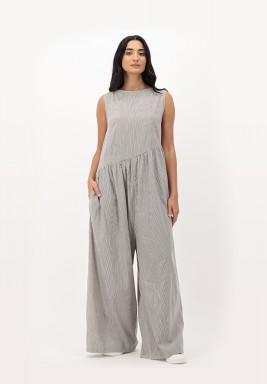 Grpahite Sleeveless Cotton Shipped with Asymmetric Gathers