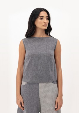 Grpahite Blush Sleeveless Cotton Top with Bow Back