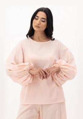 Apricot Blush Cotton Puffed Raglan Sleeve Top