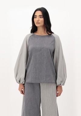 Grpahite Cotton Puffed Raglan Sleeve Top