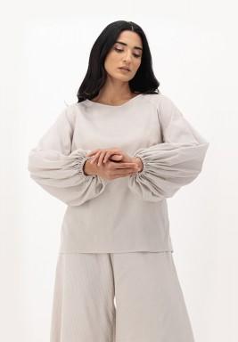 Oatmeal Cotton Puffed Raglan Sleeve Top