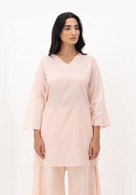 Apricot Blush Two-toned Cotton Mariposa Cuff Top