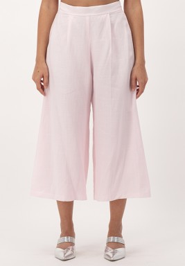 Pink Cropped linen Wide-legged Pants