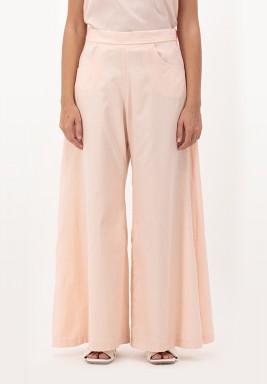 Apricot Blush Wide legged Cotton Pants