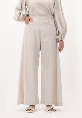 Oatmeal Wide legged Cotton Pants