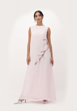 Pink Sleeveless linen Dress A-line cut with Crawling 3D Embellished on Side