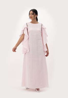 Pink Linen Dress with Fairy Sleeves and 3D Embellished on Shoulder