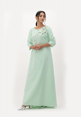 Green Linen Dress with A-line Cut and Crawling 3D Embellished on Neckline