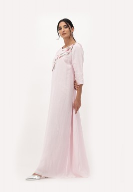 Pink Linen Dress with A-line Cut and Crawling 3D Embellished on Neckline