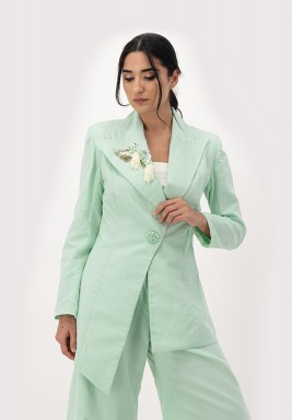 Green Linen Blazer with 3D Embellished on Collar
