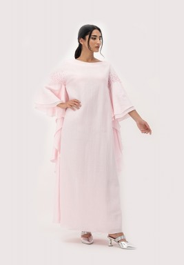 Pink Linen Kaftan with Frill Sleeves and 3D Embellished