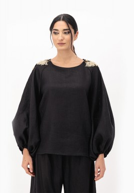 Black Linen Top with Puffed Sleeves and 3D Embellished on Shoulder