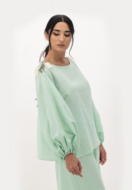 Green Linen Top with Puffed Sleeves and 3D Embellished on Shoulder