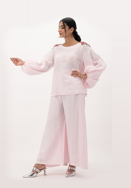 Pink Linen Top with Puffed Sleeves and 3D Embellished on Shoulder