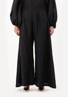 Black High waist wide-legged linen Pants