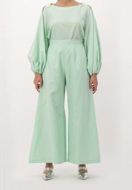 Green High waist wide-legged linen Pants