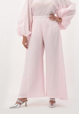 Pink High waist wide-legged linen Pants