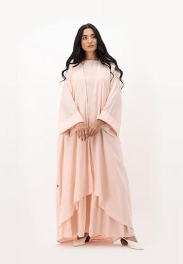 Apricot Blush Two Toned Cotton Asymmetrical length Abaya