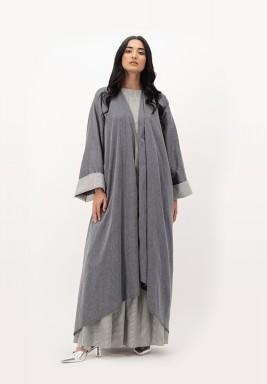 Grpahite Two Toned Cotton Asymmetrical length Abaya