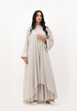 Oatmeal Two Toned Cotton Asymmetrical length Abaya