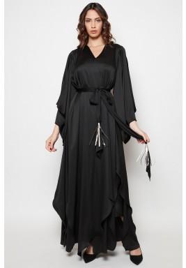 Black Ruffled Belted Abaya