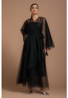 Black Tulle Metallic Abaya with Solo Jumbo Fold