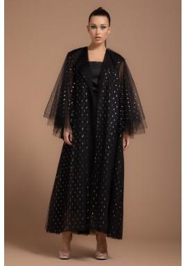 Black Multi-layered Lapel Collar Metallic Abaya