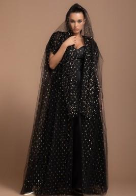 Black Gold Tulle Metallic Evening Abaya