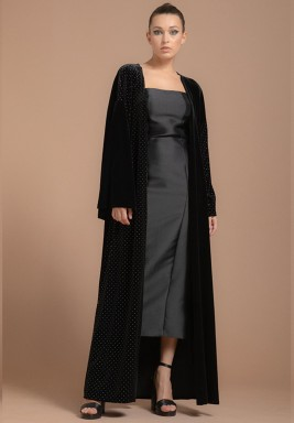 Classic Two-Toned Velvet Abaya